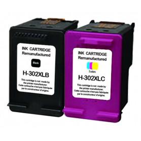 Pack 2 cartouches remanufacturées HP 302XL NOIR COULEUR...