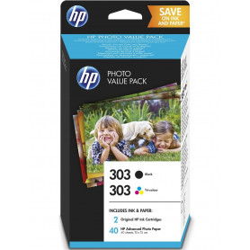 Pack cartouche original HP 303 NOIR COULEUR + papier photo